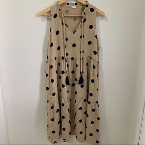 Label of Love Khaki Polka Dot A-line V-neck Sleeveless Midi Dress